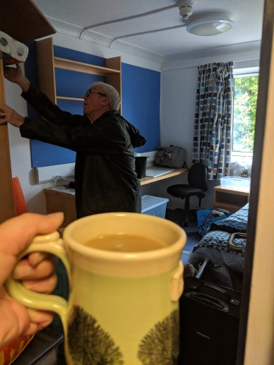 Grandad had the honour of the first cuppa in the flat